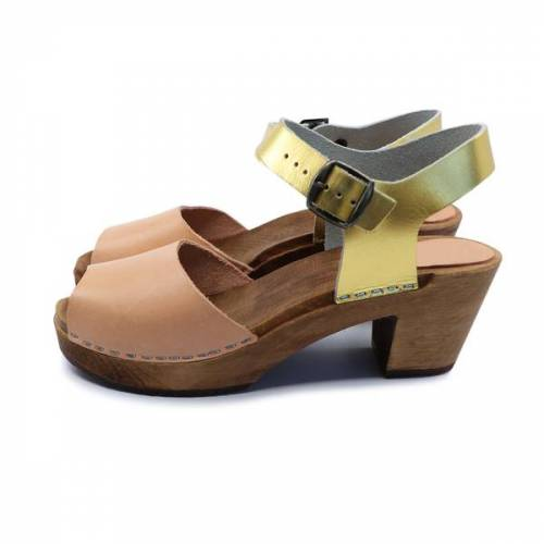 me&myClogs Cleo - Holz Clogs - High Mid Heel natural - gold 40