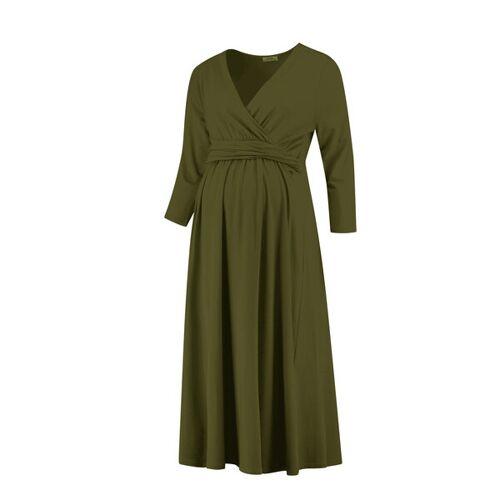 love2wait Elegantes Umstandskleid Stillkleid Mit 3/4 Ärmel grün XS