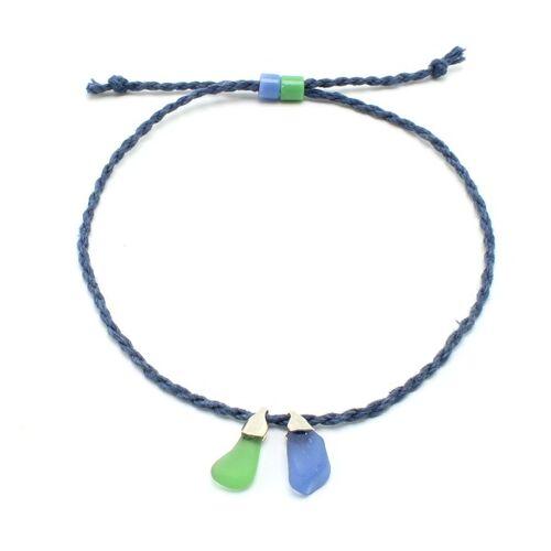 """steinfarben Fußbändchen """"Hand&Fuß"""", Seeglas An Einem Hanfband grünblau"""