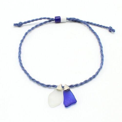 """steinfarben Fußbändchen """"Hand&Fuß"""", Seeglas An Einem Hanfband blau"""