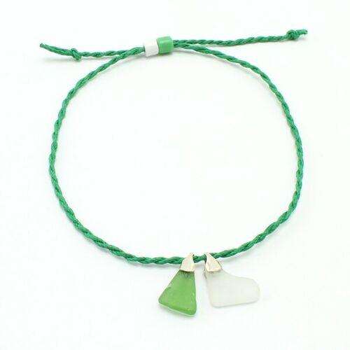 """steinfarben Fußbändchen """"Hand&Fuß"""", Seeglas An Einem Hanfband grün"""