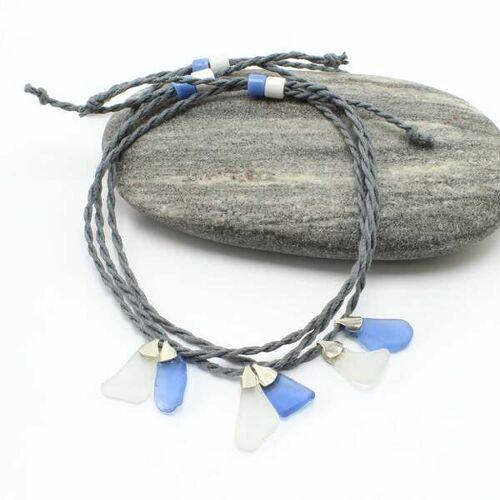 """steinfarben Fußbändchen """"Hand&Fuß"""", Seeglas An Einem Hanfband blaugrau"""
