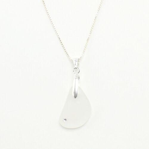 """steinfarben Halskette """"Funkel"""", Seeglas Mit Einem Swarovski An Einer Silberkette"""