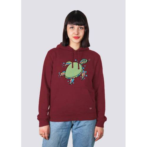 vis wear Damen Hoodie Schildkröte Aus Bio-baumwolle weinrot M