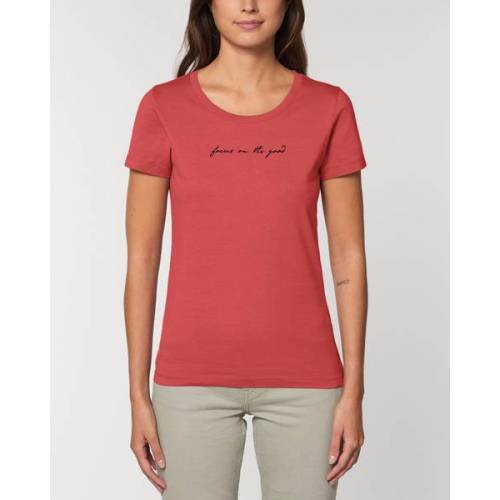 "Human Family Bio Damen Rundhals-t-shirt ""Focus On The Good"" Aus Bio-baumwolle kaminrot (rot) XS"