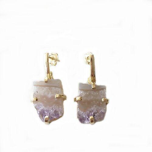 Crystal and Sage Amethyst Ohrringe gold