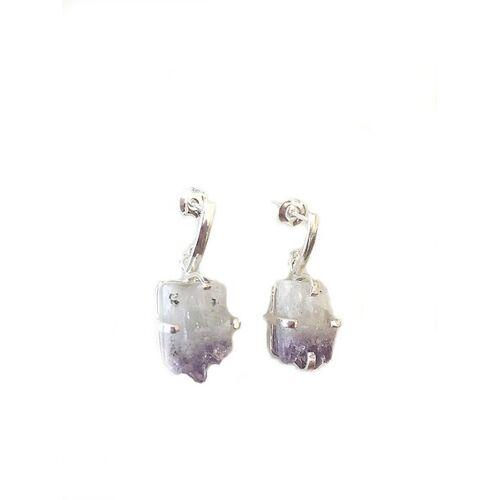 Crystal and Sage Amethyst Ohrringe silber