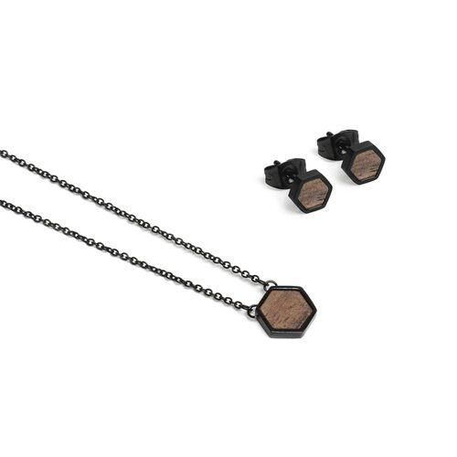 BeWooden Ohringe + Kette Mit Anhänger Set - Apis Nox Hexagon Set