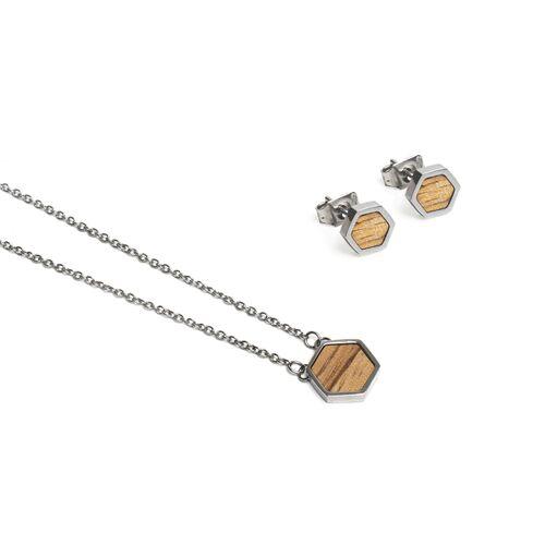 BeWooden Ohringe + Kette Mit Anhänger Set - Lini Hexagon Set