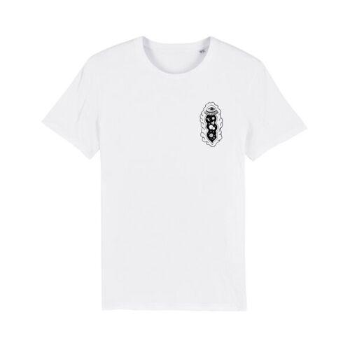 """Bretter&Stoff Unisex T-shirt Aus Bio-baumwolle """"Space Vulva"""" weiss L"""
