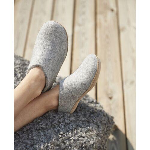glerups Hausschuhe Damen - The Shoe Leather - Leder grau (grey) 37