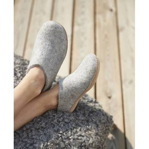 glerups Hausschuhe Damen - The Shoe Leather - Leder grau (grey) 41