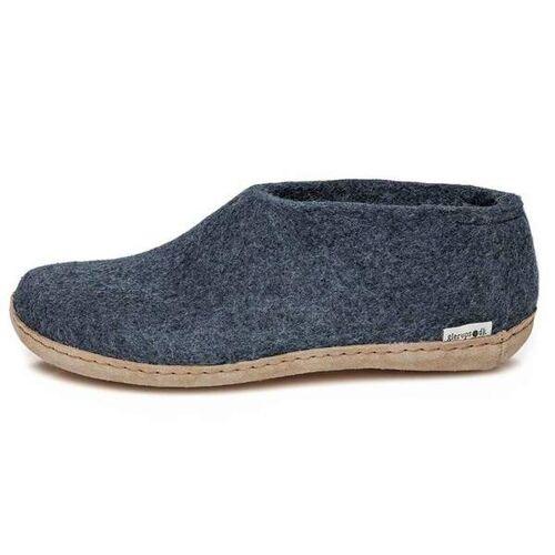 glerups Hausschuhe Damen - The Shoe Leather - Leder blau (denim) 36