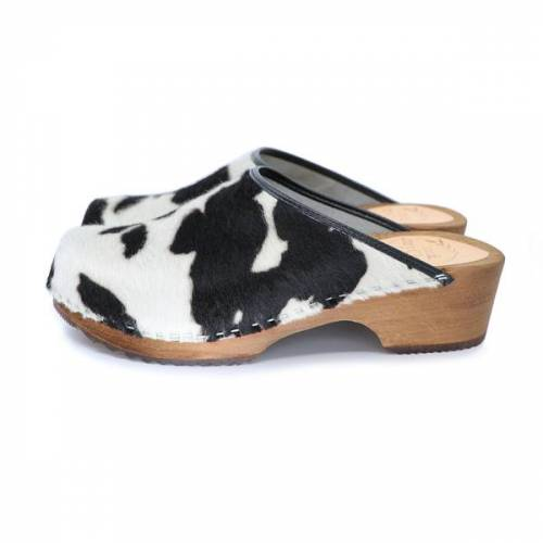 me&myClogs Cow - Kuh Schwedische Holzclogs Von Me&Myclogs - Low Heel schwarz weiß cow / kuhfell 41