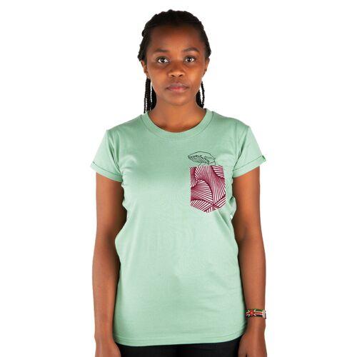 """Kipepeo-Clothing Damen T-shirt Aus Bio-baumwolle Mit Brusttasche """"Taschenwal"""" Mintgrün mintgrün M"""