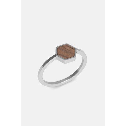 Kerbholz Ring Mit Holzelement 'Hexa Ring' silber walnuss S
