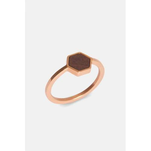 Kerbholz Ring Mit Holzelement 'Hexa Ring' rosé sandelholz M