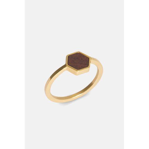 Kerbholz Ring Mit Holzelement 'Hexa Ring' gold sandelholz L