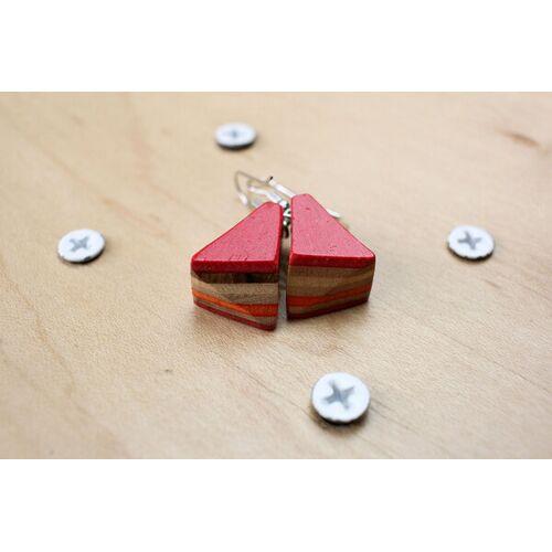 Skatan-llc Ohrringe Aus Holz , Ohrringe Aus Skateboards , Skateboard Earrings rot