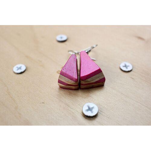 Skatan-llc Ohrringe Aus Holz , Ohrringe Aus Skateboards , Skateboard Earrings rosa