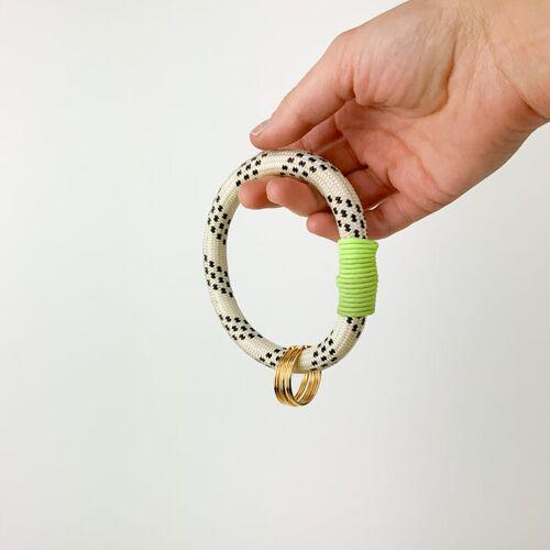 TheVIVgoods Recycled Handlicher Schlüsselanhänger Aus Kletterseilen Mir Drei Schlüsselringen gelb