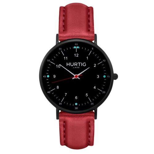 Hurtig Lane Moderna Veganes Leder Uhr Schwarz rot