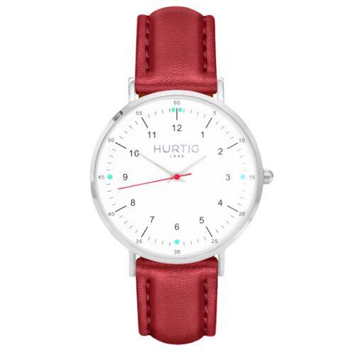 Hurtig Lane Moderna Veganes Leder Uhr Silber/weiß rot