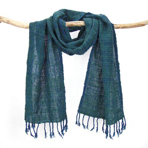 Sukham Schal Handgewebt, Pflanzengefärbt, Baumwollschal blau/grün