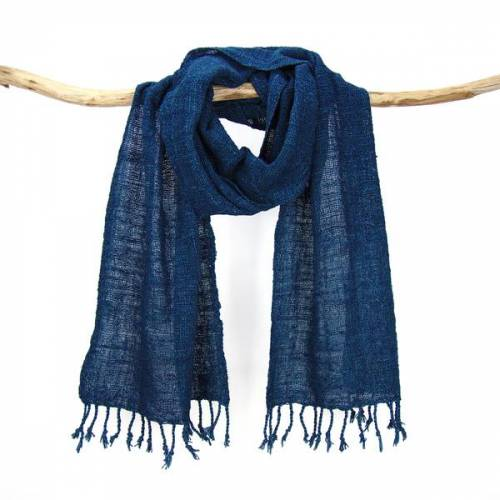 Sukham Schal Handgewebt, Pflanzengefärbt, Baumwollschal blau