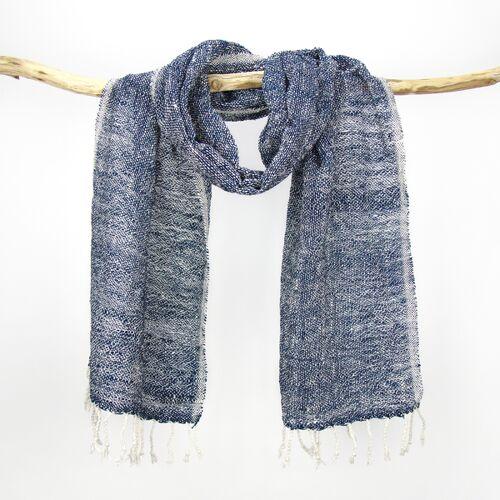 Sukham Schal Handgewebt, Pflanzengefärbt, Baumwollschal blau/weiß