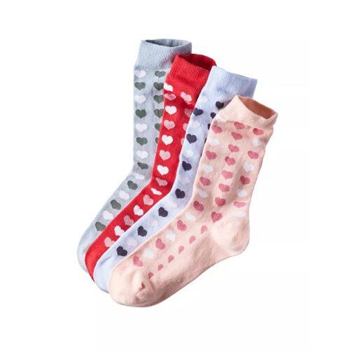 Deerberg 4er Pack Socken Mit Herzchenmuster bunt 39/42