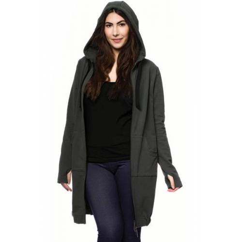 Milchshake Jasper Milchshake® Woman Long Sweatjacke Aus Bio-baumwolle oliv XL