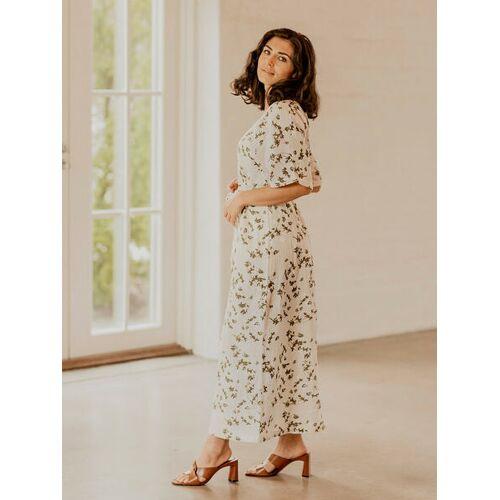KAIKO Langes Sommerliches Kleid Aus Bio-baumwolle cremeweiß L