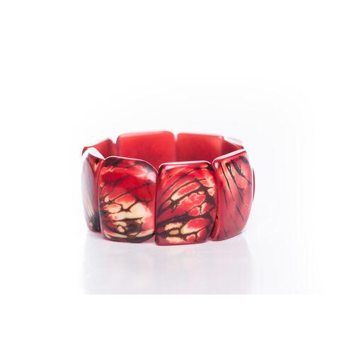 Bea Mely Tagua Armreifen Mit Hautstruktur Rot rot