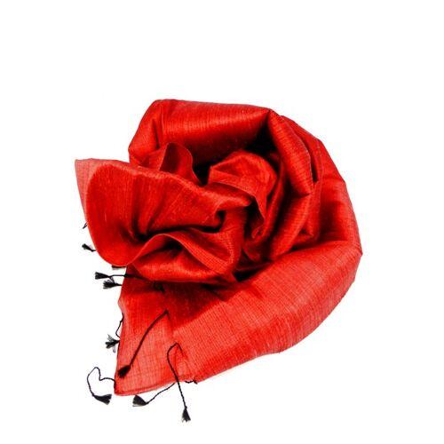 Schönes aus Indochina Edler Schal Aus Rohseide rot