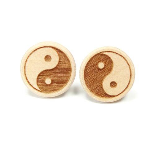Sacred Designs Ohrstecker Elsbeere - Naturholz (Graviert) - Yin-yang Symbol