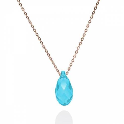 "JuliaPilot Rose-vergoldete 925er Sterling Silber Kristall-kette ""Pine Aquamarine"" rose"