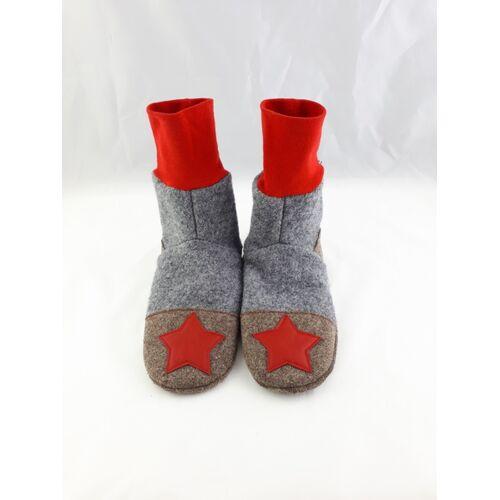 Süßstoff Gr. 34/35 Schuhe Aus Wolle Mit Ledersohle, Hüttenschuhe grau/rot