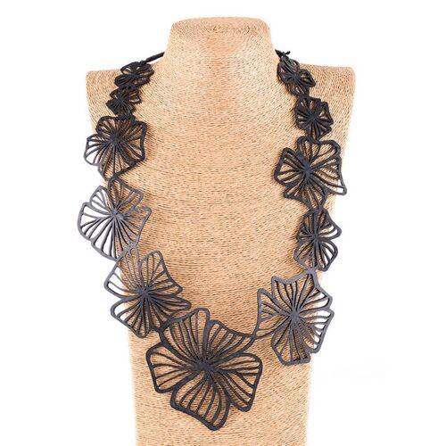 SAPU Canna Blumen Statement Halskette Aus Kautschuk  länge 30cm, breite 4cm