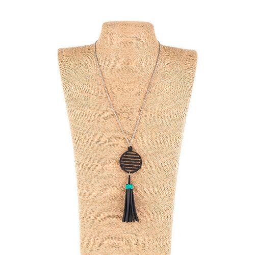 SAPU Lunar Lange Geometrische Halskette Mit Quaste türkis länge 18cm, breite 1cm