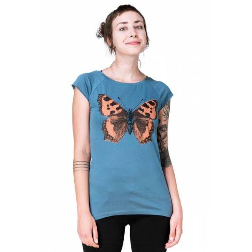 "Hirschkind Bio-& Fair-trade-frauenshirt ""Schmetterling Großer Fuchs"" Denimblau"