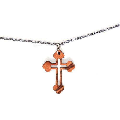 Olivenholz erleben Halskette Mit Kreuz Aus Olivenholz