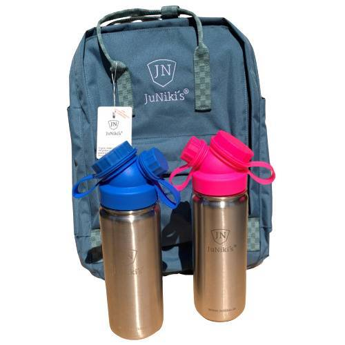 JN JuNiki's Set: 2x Juniki´s® 550ml Edelstahl Trinkflasche Isoliert Pink / Blau + Rucksack pink