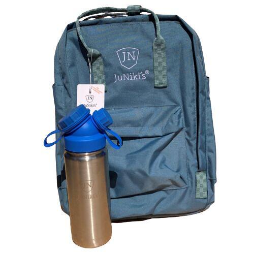 JN JuNiki's Set: Juniki´s® 550ml Edelstahl Trinkflasche Isoliert Pink Oder Blau + Rucksack blau
