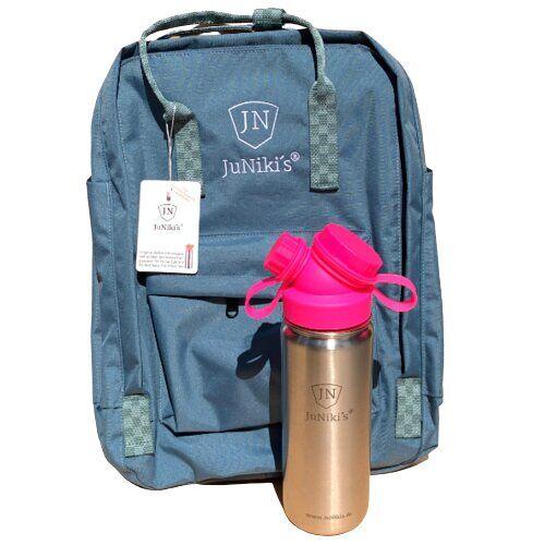 JN JuNiki's Set: Juniki´s® 550ml Edelstahl Trinkflasche Isoliert Pink Oder Blau + Rucksack pink
