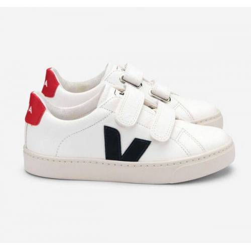 Veja Sneaker Kinder - Esplar Velcro Leather weiß (white nautico pekin) 30