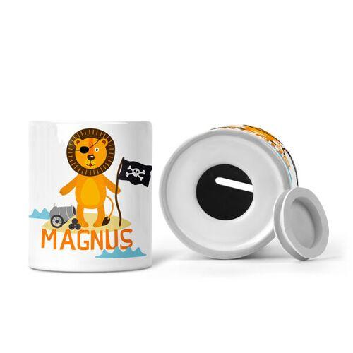 wolga-kreativ Spardose Mit Pirat Motive Für Kinder Mit Namen Personalisiert