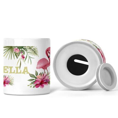 wolga-kreativ Spardose Mit Flamingo Motive Für Kinder Mit Namen Personalisiert flamingo