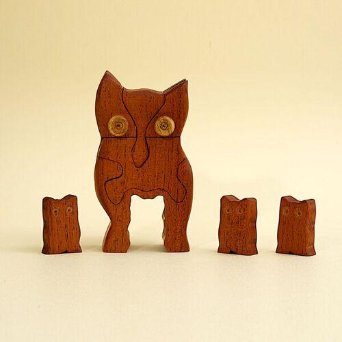 Ecowoods 3d Holzpuzzle - Eule Mit 3 Jungen Eulen