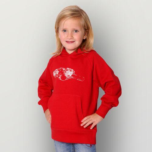 "HANDGEDRUCKT ""Pingpong"" Kinder-hoody red 104 - 110"